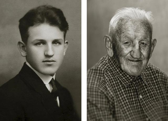 Ông Stanislav Spáčil lạc quan cho rằng cuộc đời ông vẫn còn trải dài phía trước và không cần phải ngoái nhìn về phía sau. (Ảnh trái: năm ông 17 tuổi. Ảnh phải: hiện giờ ông đã 102 tuổi)
