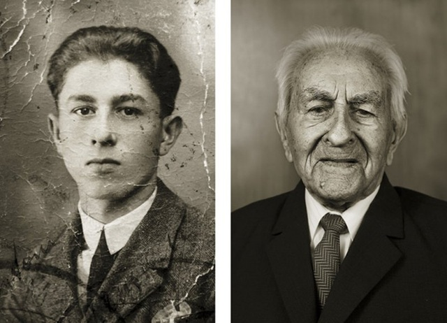 Ông Antonín Baldrman vẫn giữ thói quen đọc báo mỗi ngày. (Ảnh trái: năm ông 17 tuổi. Ảnh phải: hiện giờ ông 101 tuổi)