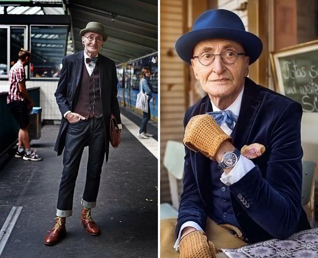 """Người mẫu Đức Günther Krabbenhöft (71 tuổi) vốn là một đầu bếp. Không chỉ trân trọng vẻ đẹp ẩm thực, ông Krabbenhöft còn rất yêu vẻ đẹp thời trang và thường không ngần ngại lựa chọn cho mình phong cách ấn tượng mỗi khi đi ra khỏi nhà. Khi bắt đầu biết tới mạng xã hội và chia sẻ những bức ảnh """"tự sướng"""" của mình, ông Krabbenhöft đã được báo chí trong nước nhắc đến vì phong cách thời trang của ông không khác gì một """"fashionista"""" chính hiệu."""