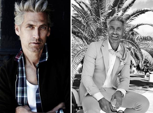 """Người mẫu Thụy Điển Anton Nilsson (53 tuổi) lựa chọn cho mình phong cách quý ông khỏe khoắn, năng động, thay vì để những bộ râu """"đồ sộ"""" như nhiều mẫu nam """"già gân"""" khác."""