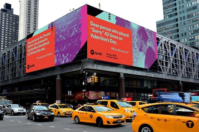Một tấm biển quảng cáo của Spotify đặt ở thành phố New York, Mỹ.
