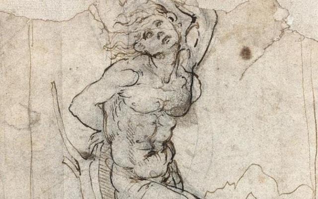 """Bức phác họa Thánh Sebastian tử vì đạo từng được đề cập tới trong loạt tuyển tập """"Codex Atlanticus"""" xoay quanh những vấn đề đa dạng mà sinh thời Leonardo Da Vinci từng quan tâm, nghiên cứu."""
