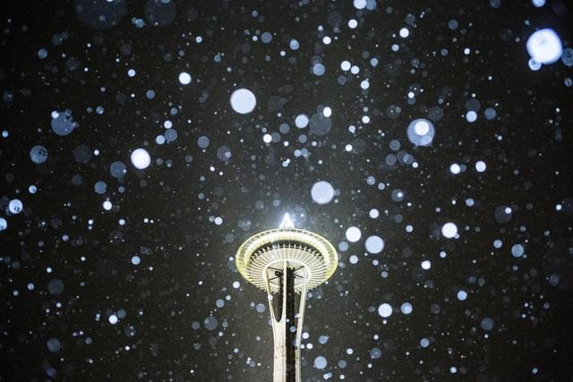 Tuyết rơi xung quanh tháp Space Needle ở thành phố Seattle, bang Washington, Mỹ.