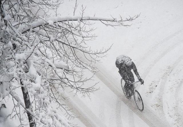 Một người đàn ông đạp xe trong cơn bão tuyết ở Stockholm, Thụy Điển.