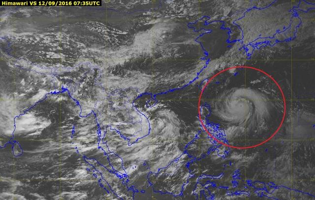 Vị trí bão Meranti đang hoạt động ở phía Đông Philippines (Ảnh: NCHMF).