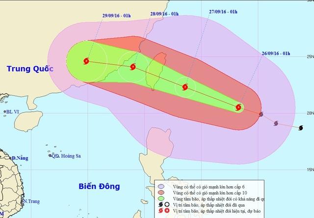 Vị trí và hướng di chuyển của bão MEGI (Ảnh: NCHMF).