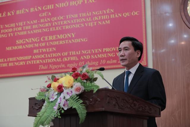 Phó Bí thư Tỉnh ủy, Chủ tịch UBND tỉnh Thái Nguyên Vũ Hồng Bắc đánh giá rất cao những đóng góp, hỗ trợ một cách trong sáng của Samsung cho những vấn an sinh xã hội ở tỉnh Thái Nguyên.