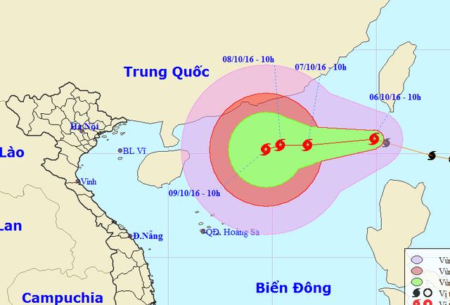 Vị trí và hướng di chuyển của bão Aere (Ảnh: NCHMF).