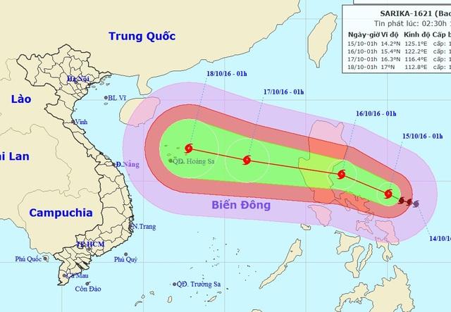 Vị trí và hướng di chuyển của bão Sarika (Ảnh: NCHMF).