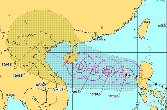 Vi trí và hướng di chuyển của bão Sarika (Việt Nam gọi là bão số 7) (Ảnh: Trang dự báo của Hải Quân Mỹ).