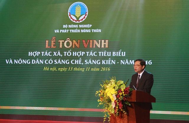 Bộ trưởng Bộ NN&PTNT Nguyễn Xuân Cường phát biểu tại Lễ tôn vinh.