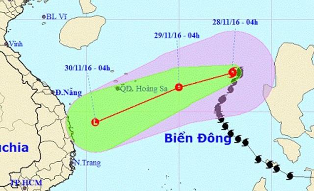 Vị trí và hướng di chuyển của bão số 9 (Ảnh: NCHMF).