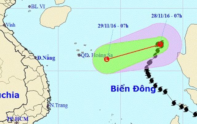 Sáng nay (28/11), bão số 9 đã suy yếu thành áp thấp nhiệt đới (Ảnh: NCHMF).