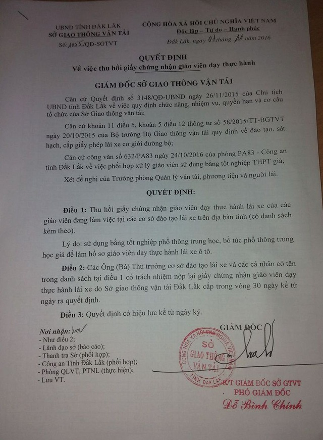 Quyết định thu hồi giấy chứng nhận giáo viên dạy lái của Sở GTVT Đắk Lắk
