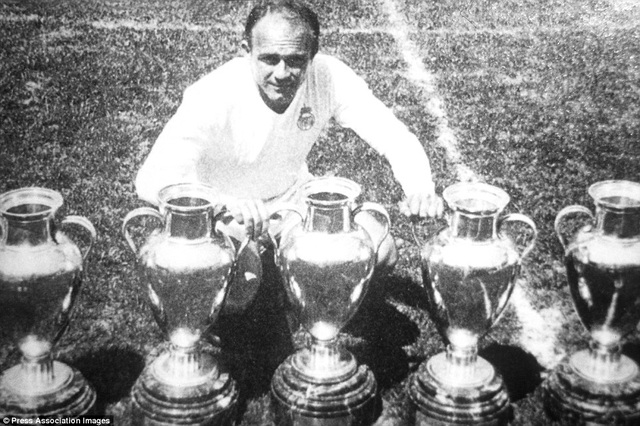 Cố huyền thoại Di Stefano góp công lớn giúp Real Madrid giành 5 cup C1