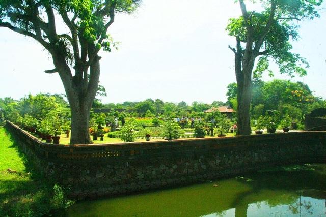Nằm trong Hoàng thành Huế, xung quanh vườn Cơ Hạ còn được bao quanh bởi hồ nước