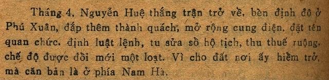 """Sao y trích đoạn """"Nguyễn Huệ thắng trận trở về, bèn định đô ở Phú Xuân, đắp thêm thành quách, mở rộng cung điện"""" tại trang 90 trong sách Lê Quý Dật Sử của Bùi Dương Lịch."""