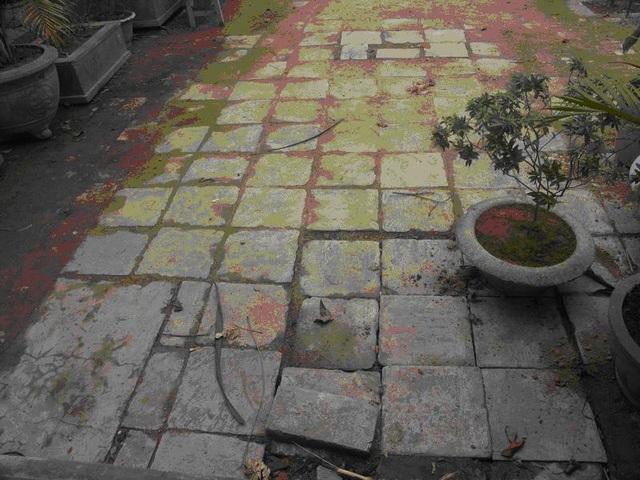 Sau đó đã chuyển ra lát sân phía sau chùa. Những số gạch đá này được nhà bà Liên, ông Oánh tặng chùa khi đào dưới vườn nhà lên