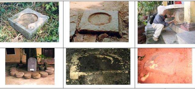 6 loại đá táng cột tìm thấy trong khu vực Gò Dương Xuân gồm chùa Thiền Lâm, chùa Vạn Phước, Cồn bông Sứ và trên con đường từ Hồ sen lên chùa Vạn Phước (ảnh: Nguyễn Đắc Xuân)