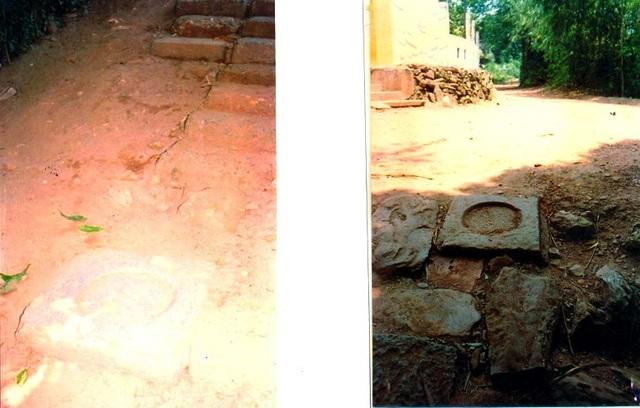 Đá táng cột màu trắng (trái) và đá táng cột màu xanh (phải)