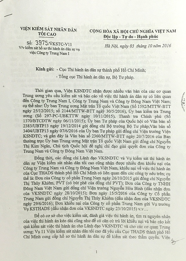 Viện KSND Tối cao vào cuộc kiểm sát hồ sơ thi hành án dân sự trong vụ việc này