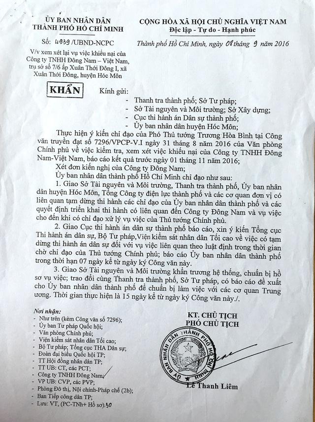 Phó Chủ tịch UBND thành phố Lê Thanh Liêm ra văn  bản khẩn giao các cơ quan liên quan tạm dừng các quyết định triển khai thi hành án có liên quan Cty TNHH Đông Nam VN