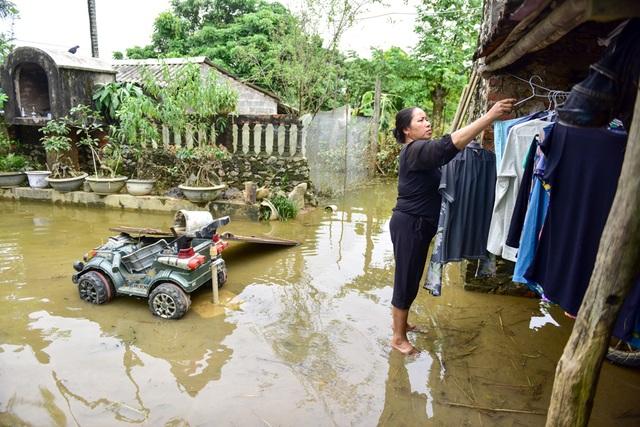 Cùng cảnh như gia đình bà Lạn, nhà bà Nguyễn Thị Thi cũng mất trắng đàn lợn, gà do nước lên nhanh không kịp sơ tán.