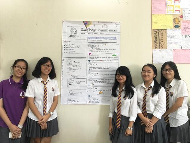 Nhóm học sinh lớp 9G và facebook vua Quang Trung
