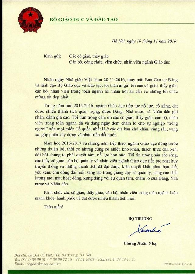 Bộ trưởng Phùng Xuân Nhạ gửi thư chúc mừng giáo viên nhân ngày 20/11 - 1