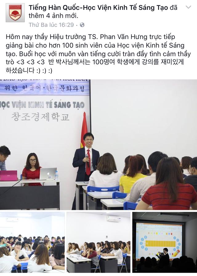 Chức danh hiệu trưởng vẫn được áp dụng với ông Hưng trên facebook Tiếng Hàn Quốc- Học viện Kinh tế sáng tạo.