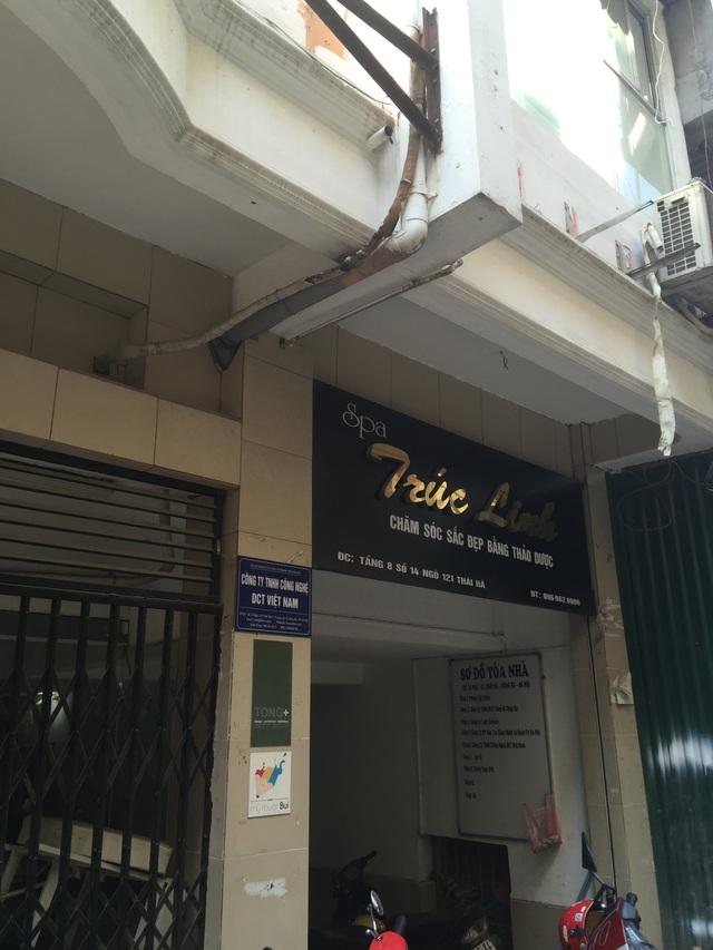 Biển hiệu của chi nhánh Trung tâm ở ngõ 121 Thái Hà đã được gỡ bỏ