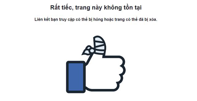 Trang facebook quảng cáo rầm rộ trước đây của Trung tâm trong tình trạng không truy cập được.