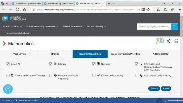 Hình minh họa chụp màn hình website đăng tải chương trình môn Toán của Australia trên website: https://www.australiancurriculum.edu.au/f-10-curriculum/mathematics/
