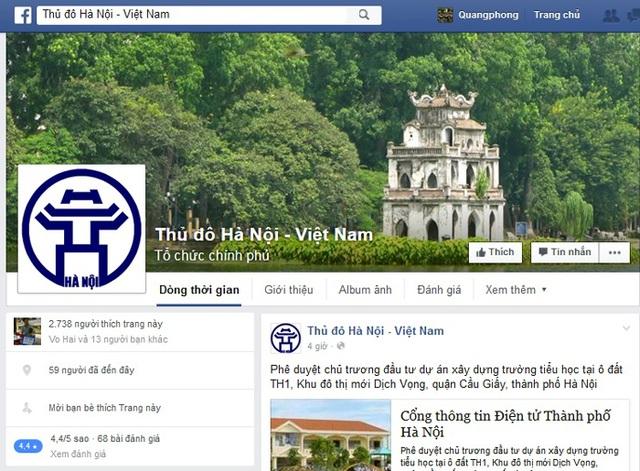 Cuối năm 2015, UBND TP Hà Nội cũng đã có thông báo đến cán bộ, công chức, viên chức về việc triển khai chỉ đạo điều hành qua facebook