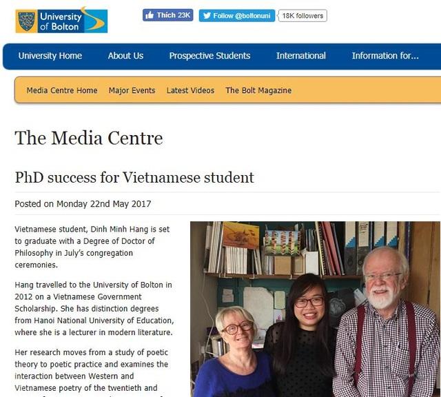 Tờ báo của Đại học Bolton viết chân dung TS. Đinh Minh Hằng như một nghiên cứu sinh quốc tế xuất sắc và giàu đam mê tại trường.
