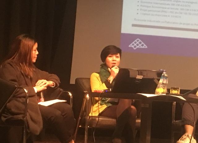 Diễn giả Bá Linh - phụ trách Mạng lưới Cựu học sinh tại Pháp ở Đại sứ quán Pháp.