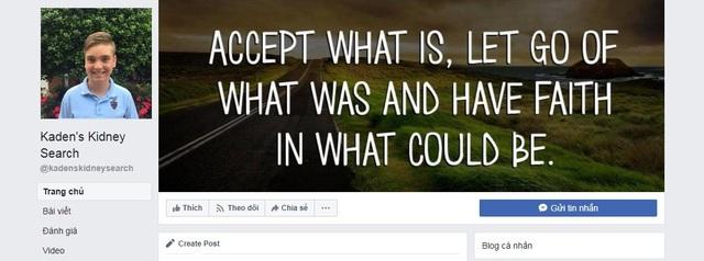 Giao diện trang Facebook Kaden's Kidney Search