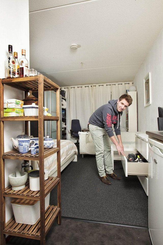 Nơi sinh hoạt của Davy Limpens (25 tuổi) theo học ngành Y tại Amsterdam, Hà Lan. (Ảnh: Henny Boogert)