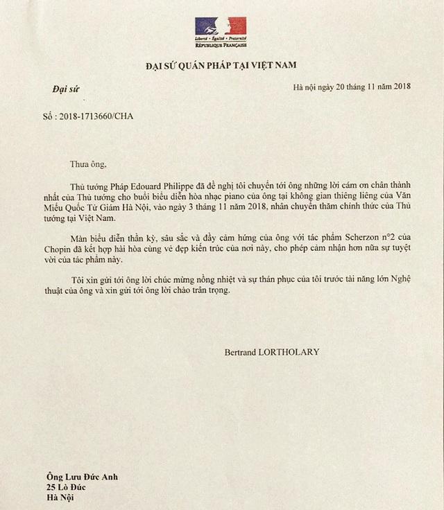 Lời cảm ơn và thư chúc mừng từ Thủ tướng Pháp Edouard Philippe nhờ Đại sứ quán Pháp tại Việt Nam gửi tới nghệ sĩ Lưu Đức Anh.