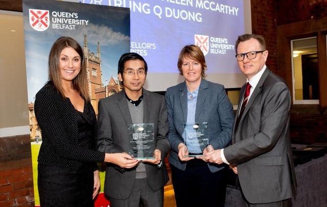 GS Trung (chủ nhiệm công trình cải thiện hệ thống thông tin liên lạc trong thiên tai) và nữ giáo sư Helen McCarrthy (chủ nhiệm một công trình tìm phương thức chế biến thuốc mới) cùng giành giải thưởng Research Innovation 2018.