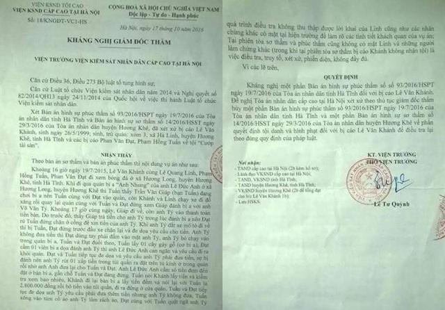 Quyết định kháng nghị hủy một phần bản án sơ thẩm và phúc thẩm để điều tra lại của VKSND Cấp cao tại Hà Nội
