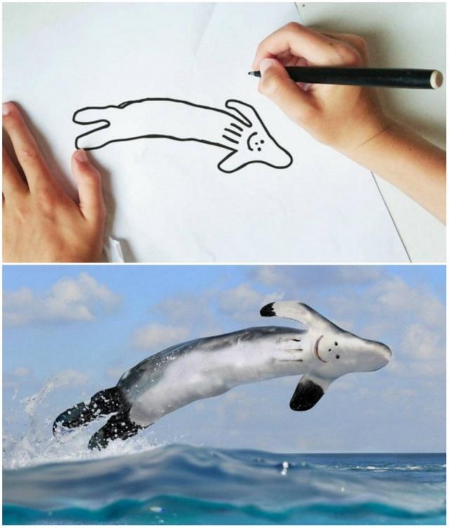 Một con cá heo nhảy lên trên mặt biển