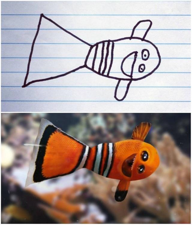 """Phải chăng cậu bé Dom đã lấy ý tưởng từ chú cá hề trong bộ phim """"Đi tìm Nemo"""" cho bức tranh này?"""