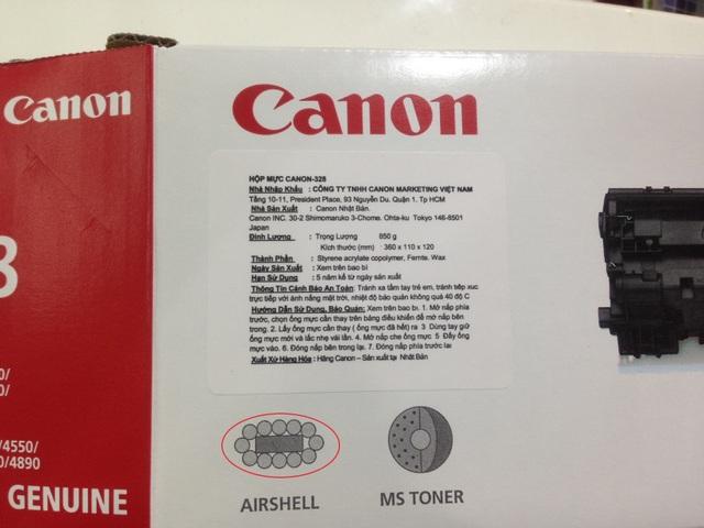 Vỏ hộp có tem nhập khẩu của Công ty Canon Marketing Vietnam, bên ngoài có in hình công nghệ túi khí (AIRSHELL)