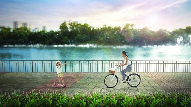 Không gian sống ven sông với hơn 60% diện tích dự án được bao phủ bởi mảng xanh, mặt nước tạo nên môi trường sống lý tưởng cho mọi độ tuổi (Ảnh phối cảnh)