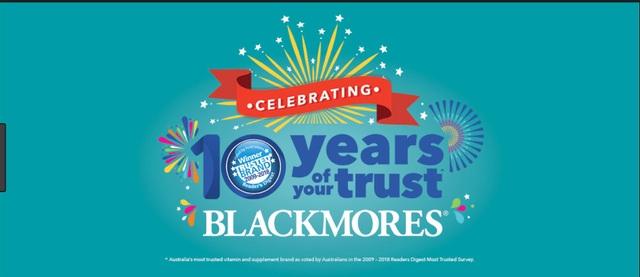 """Blackmores được bình chọn là """"Thương hiệu đáng tin cậy nhất"""" trong 10 năm liên tiếp bởi tạp chí uy tín thế giới, Digest."""