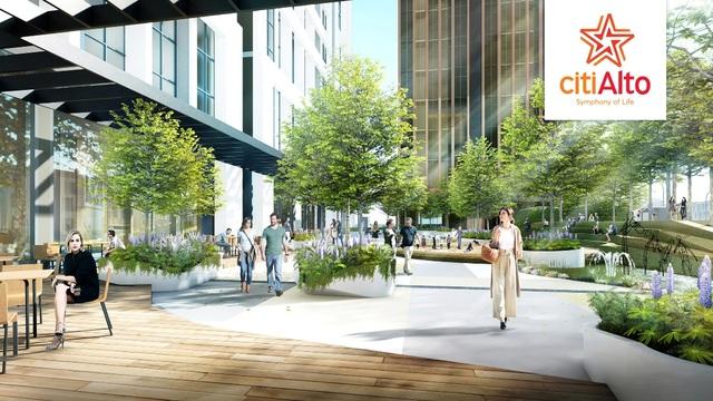 CitiAlto có 2.425m2 cảnh quan nội khu được thiết kế tinh tế và hiện đại