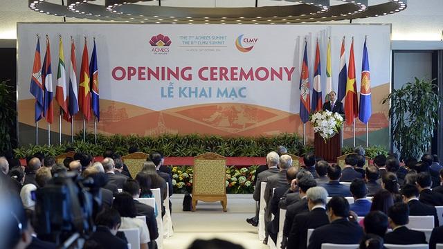 Lễ khai mạc Hội nghị cấp cao Chiến lược hợp tác kinh tế Ayeyawady-Chao Phraya-Mekong (ACMECS) lần thứ 7, Hội nghị cấp cao Hợp tác Campuchia-Lào-Myanmar-Việt Nam (CLMV) lần thứ 8 tại Hà Nội (Ảnh: Mạnh Thắng)