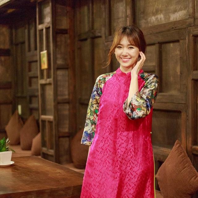 Hari Won giản dị trong tà áo dài như phong cách quen thuộc từ trước đến nay của mình
