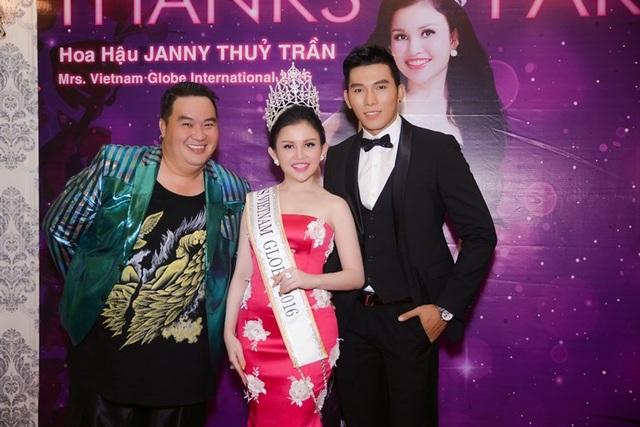 Hoa hậu Janny Thủy Trần rạng rỡ bên danh hài Hoàng Mập và Nam vương Châu Á – Á vương thế giới Trương Ngọc Tình